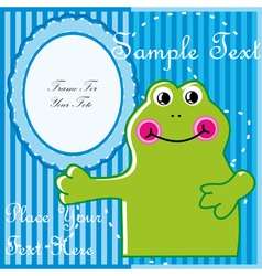 Baby postcard with frog vector image