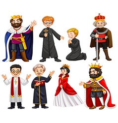 Different characters of king and priest vector