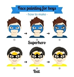 Face painting boys 4 vector image vector image