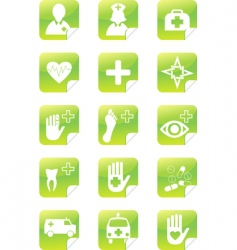 medical set stickers vector image vector image