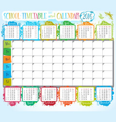 School timetable and calendar 2016 vector image