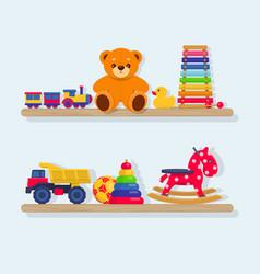 set of different kids toys on wooden shelves vector image