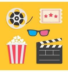 3d glasses movie reel open clapper board popcorn vector
