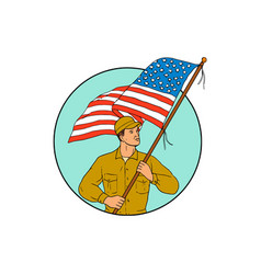 american soldier waving usa flag circle drawing vector image vector image