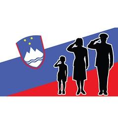 Slovenia soldier family salute vector