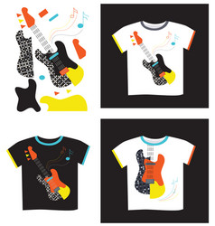 Applique on t-shirt electric guitar vector