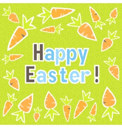 Easter carrots card on a green vector image