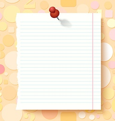 Empty Exercise Book Paper Sheet on Light vector image