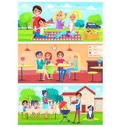 Family eats together out of home set vector