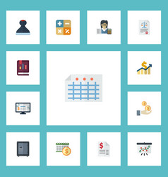 flat icons mark accounting system duty and other vector image vector image