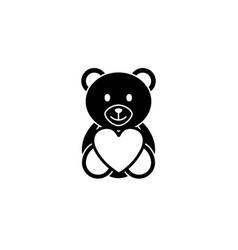 teddy bear wtih heart solid icon soft toy vector image