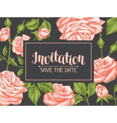 Wedding invitation card template with roses vector image vector image
