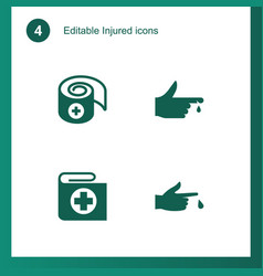 4 injured icons vector