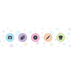 5 bakery icons vector