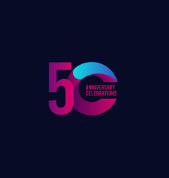 50 years anniversary celebration purple and blue vector