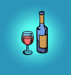 a bottle of red wine and a glass vector image