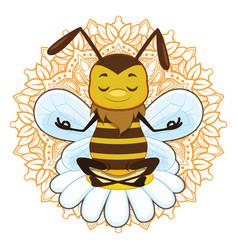 A honeybee meditating vector