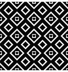 Abstract black and white seamless pattern hearts vector