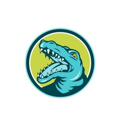 Angry Alligator Head Snout Circle Retro vector