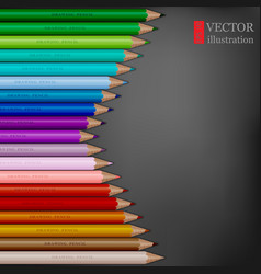 arrow shape of rainbow colored pencils on dark vector image