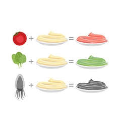Assorted color pasta Spaghetti and spinach-green vector