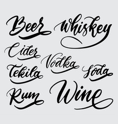 Beer whiskey and wine handwriting calligraphy vector
