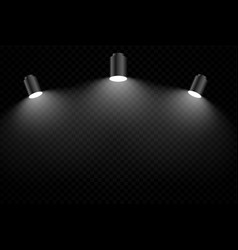 Black background with three realistic focus light vector