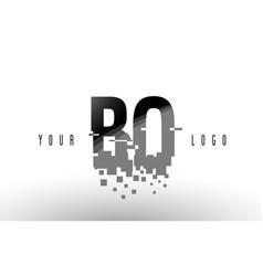 Bo b o pixel letter logo with digital shattered vector