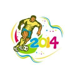 Brazil 2014 Football Player Running Ball Retro vector