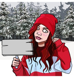 cartoon teen girl with a signboard in the winter vector image