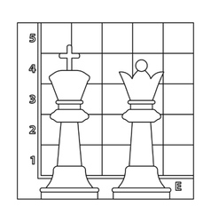 Chess icon in outline style isolated on white vector image