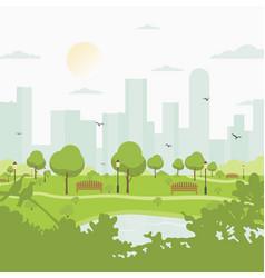 city park against high-rise buildings landscape vector image