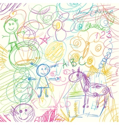 Colored pencils scribbles made by a little kid vector image
