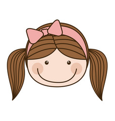 colorful caricature front face girl with pigtails vector image
