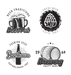 creative beer set logos design with mug bottle vector image