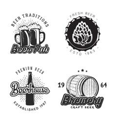 Creative beer set of logos design with mug bottle vector image