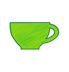 Cup sign lemon scribble icon on white vector
