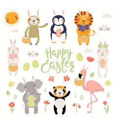Cute animals easter set vector