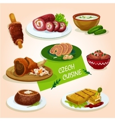 Czech cuisine comfort dishes for dinner design vector
