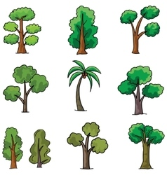 Doodle of tree different set ornament vector