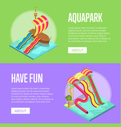 Family vacation in aquapark isometric flyers set vector