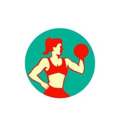 Female Lifting Dumbbell Circle Retro vector