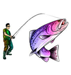 fishing design for a fisherman catches vector image