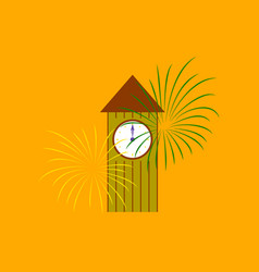 Flat on background of christmas clock vector