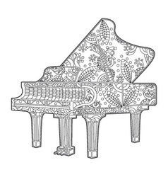 Floral and decorative piano vector