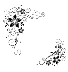 Floral corner design Ornament black flowers on vector image vector image