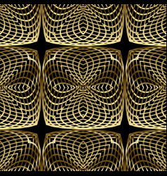 Gold 3d lines seamless pattern ornamental line vector
