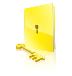 Golden locked book and key vector