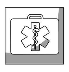 grayscale square frame shading with first aid kit vector image
