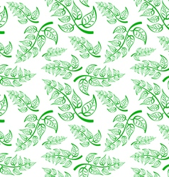 Green Branch with leaves Seamless Pattern on white vector image vector image